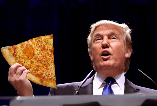 Donald Trump, pictured here, disputes the alleged size of Ivanka's vagina while giving the keynote address at Trump university's new graduate pizza party.